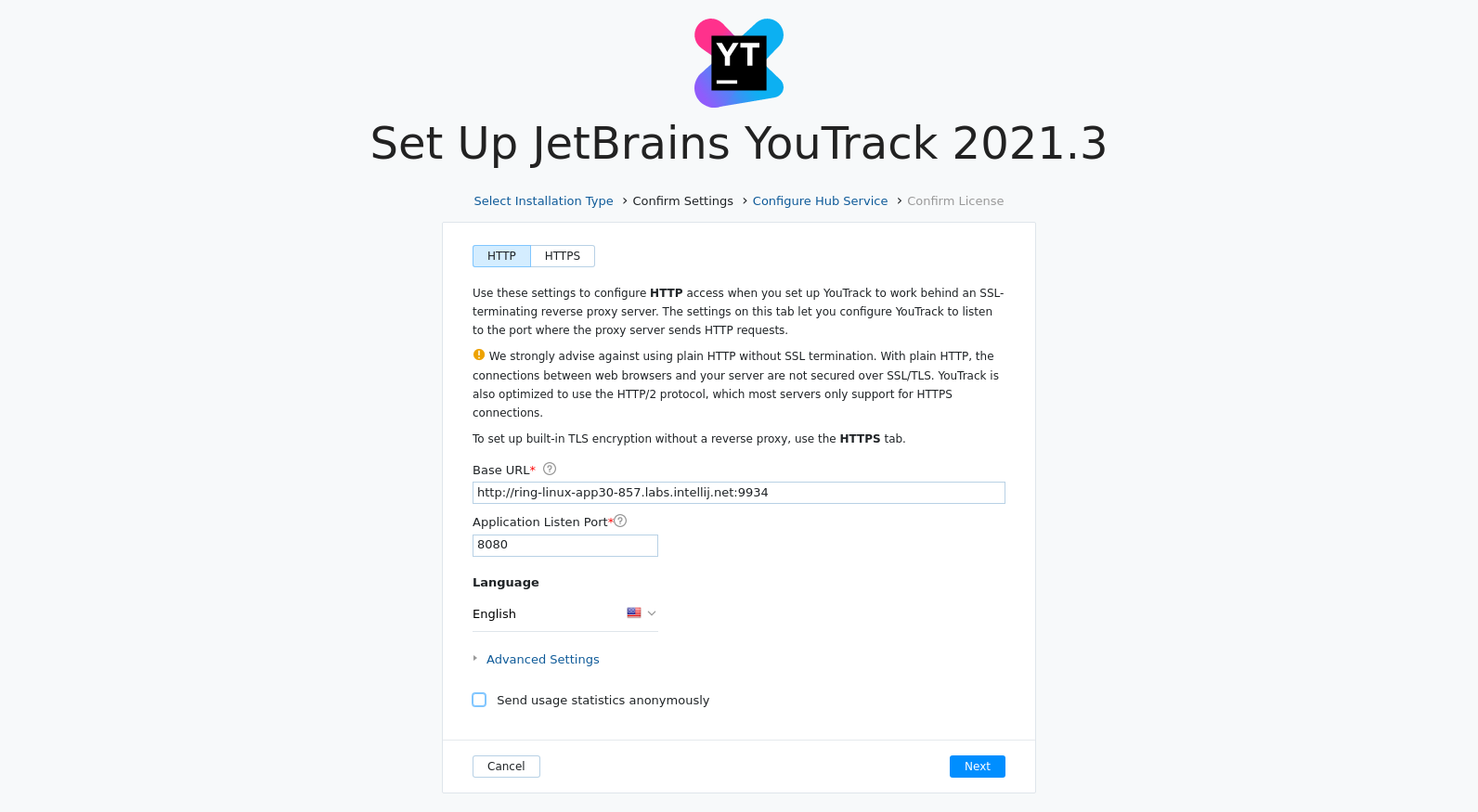 Install YouTrack confirm settings
