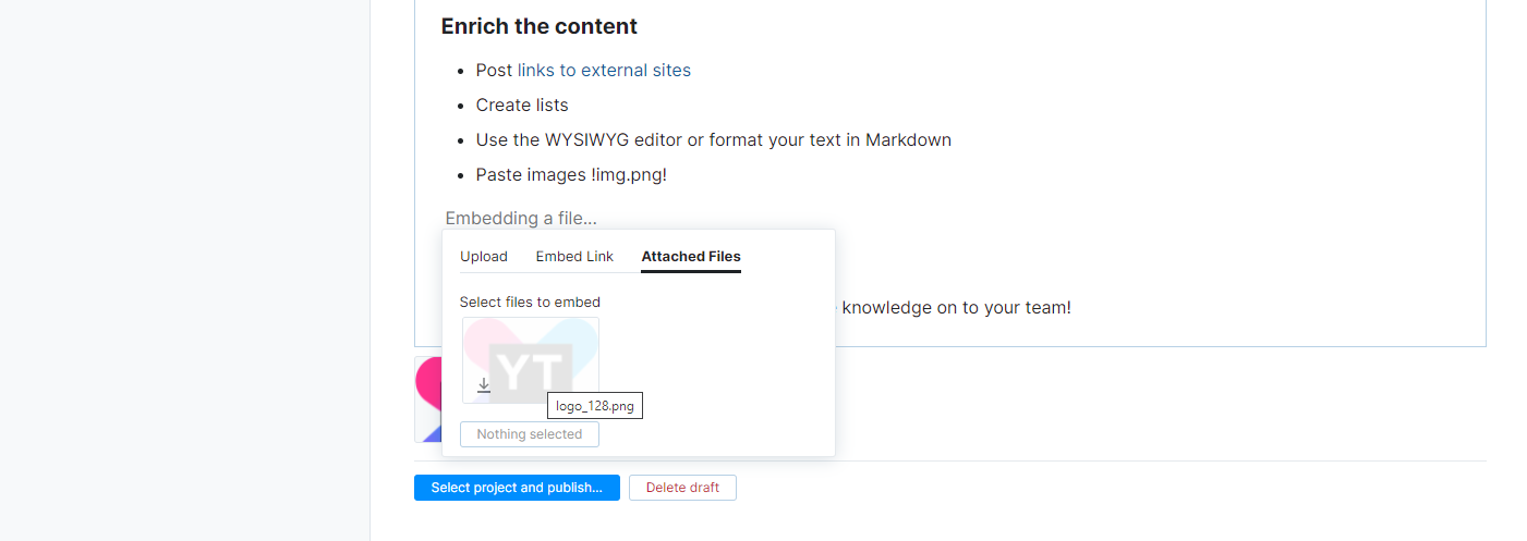 Embed an attached file in article content.
