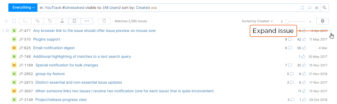 Control to expand the detail for a single issue in the Issues list.
