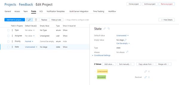 feedback project state field