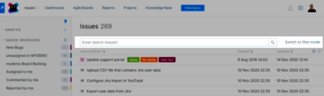 Search and filter options in YouTrack Lite.