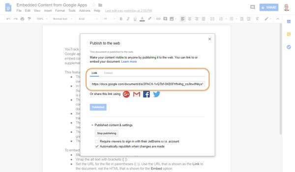 Google publish to web