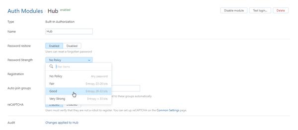 Hub auth module password strength setting