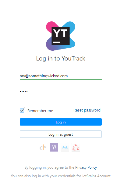 The YouTrack login form.