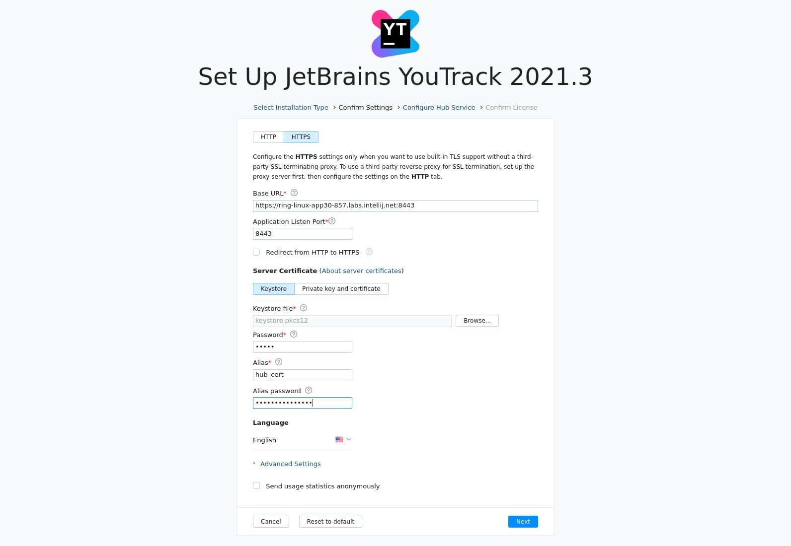 Install: HTTPS basic settings