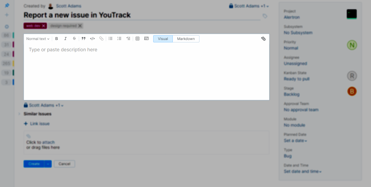 Issue description in YouTrack Lite.