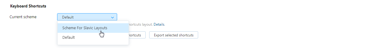 keyboard shortcut scheme