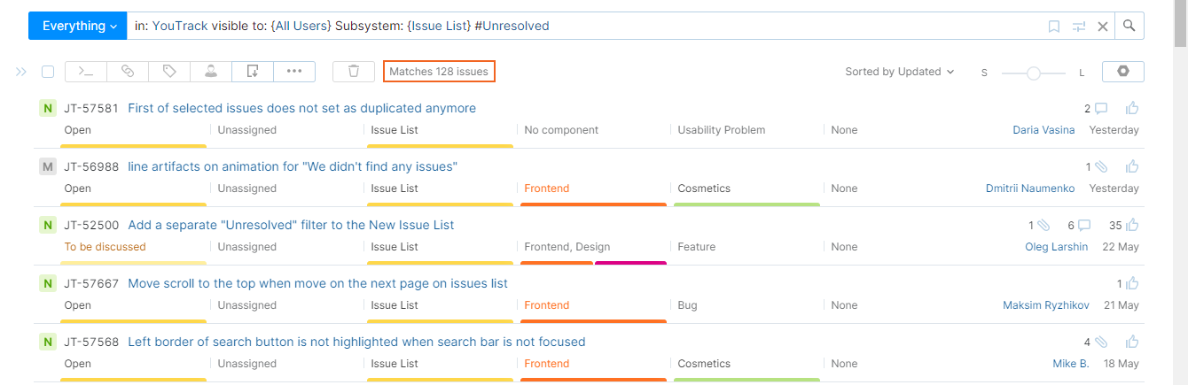 number of issues that match the current search query