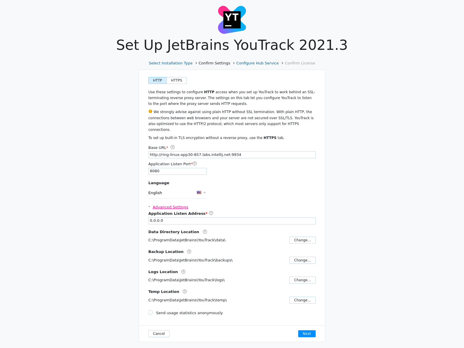 Install YouTrack advanced settings