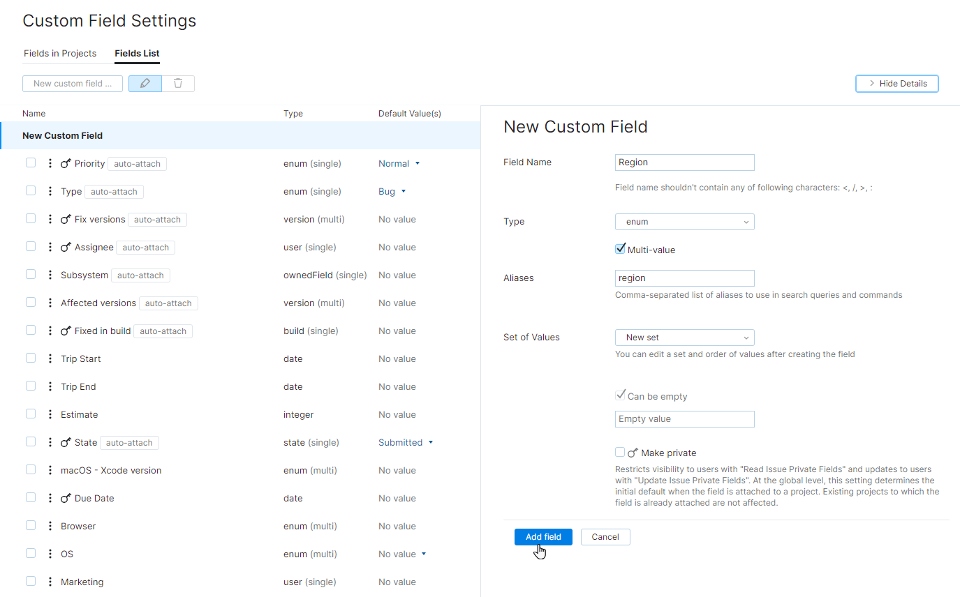 new custom field with enumerated type