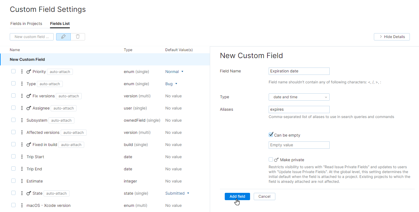 new custom field with simple type