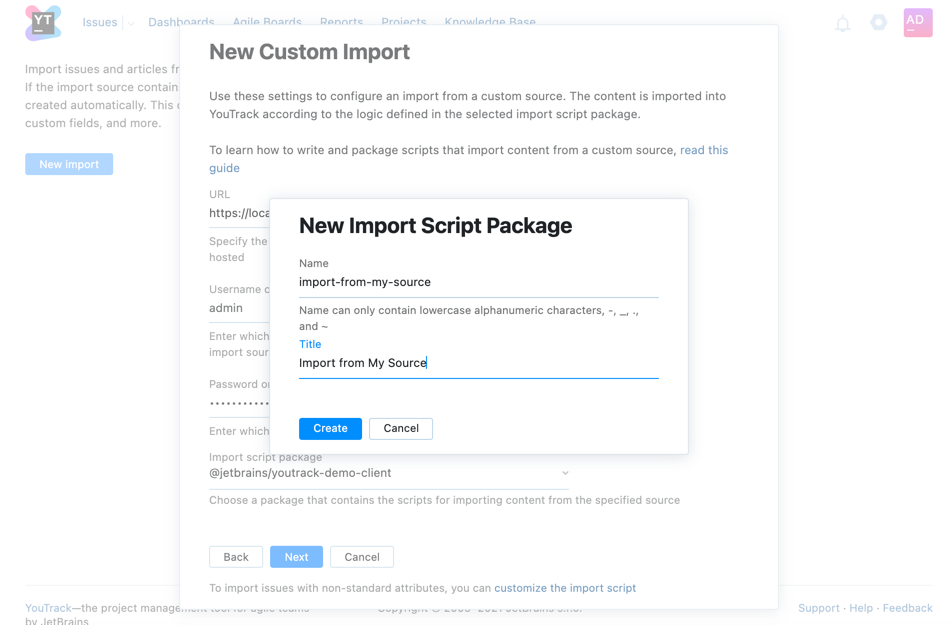 Enter new import script name and title