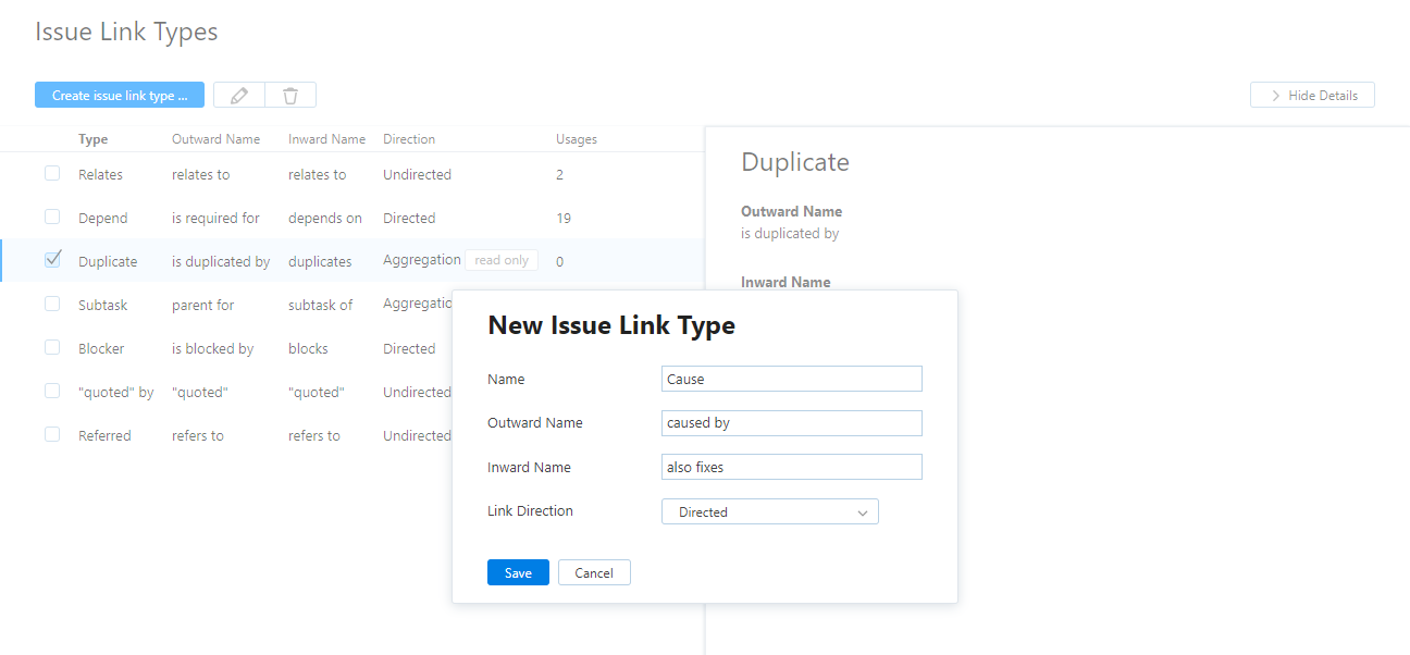 New issue link type