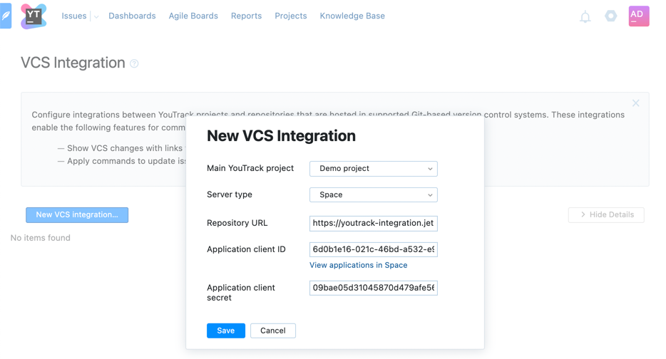 new Space VCS integration