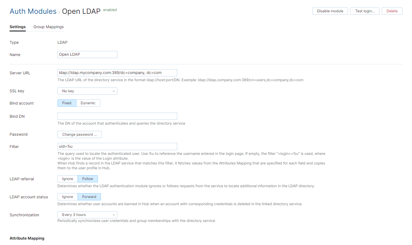 Open ldap auth module