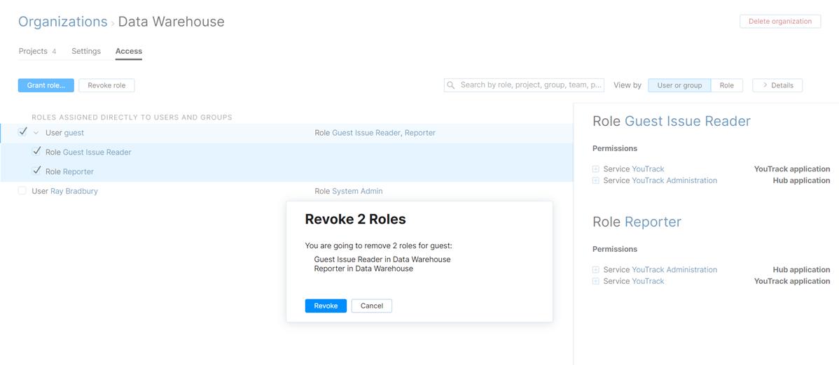 Revoke role from a user in an organization.
