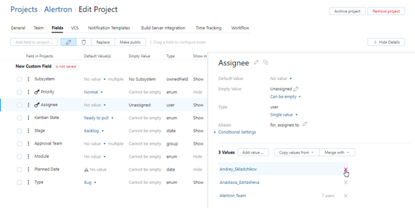 Project assignees