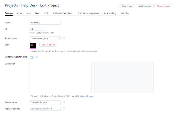 Project settings for help desk.