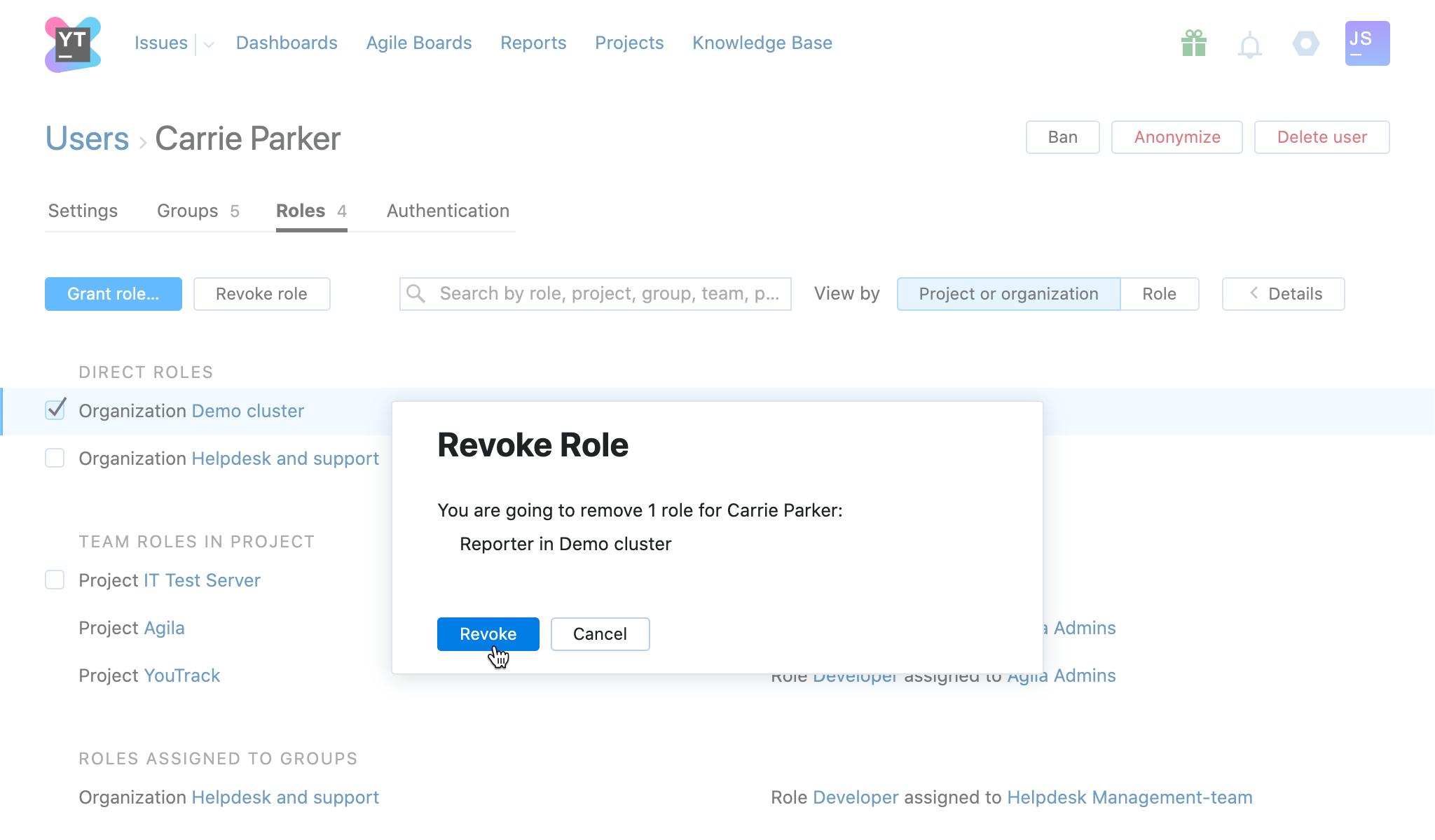 Revoke role user