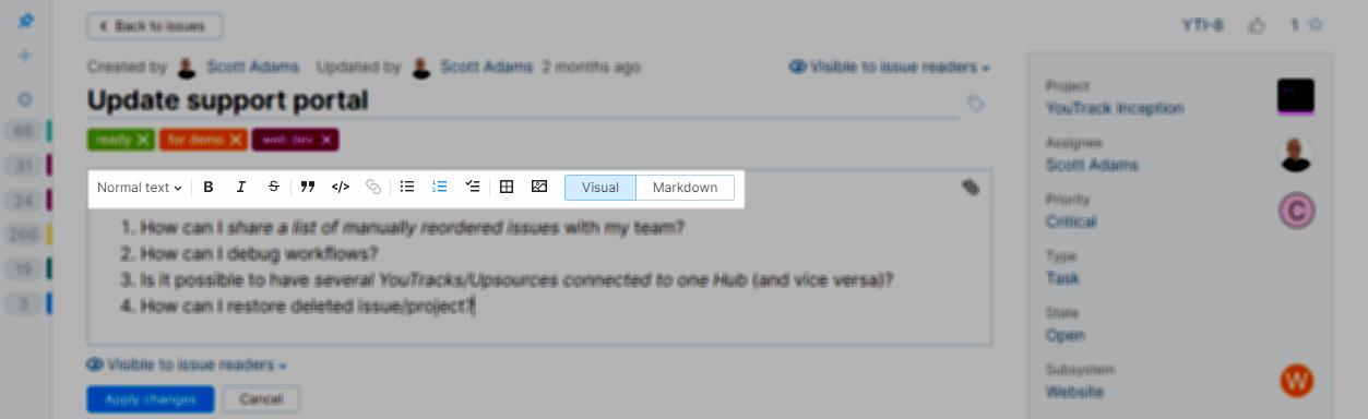 Rich text formatting toolbar.