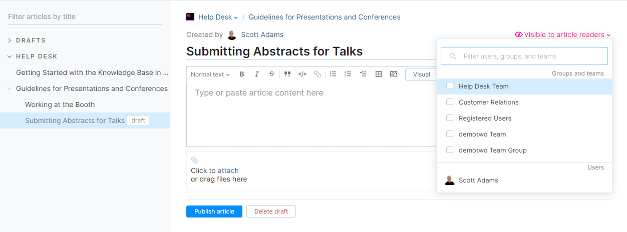 Set visibility for an article draft.