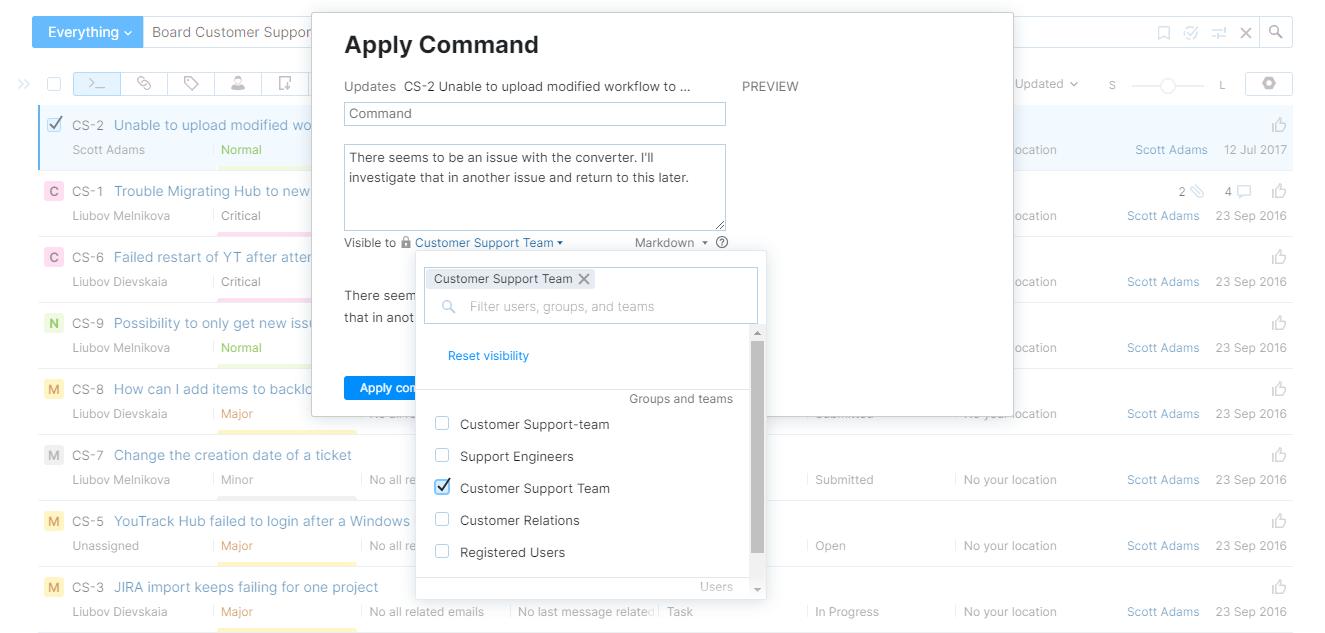 Set comment visibility command
