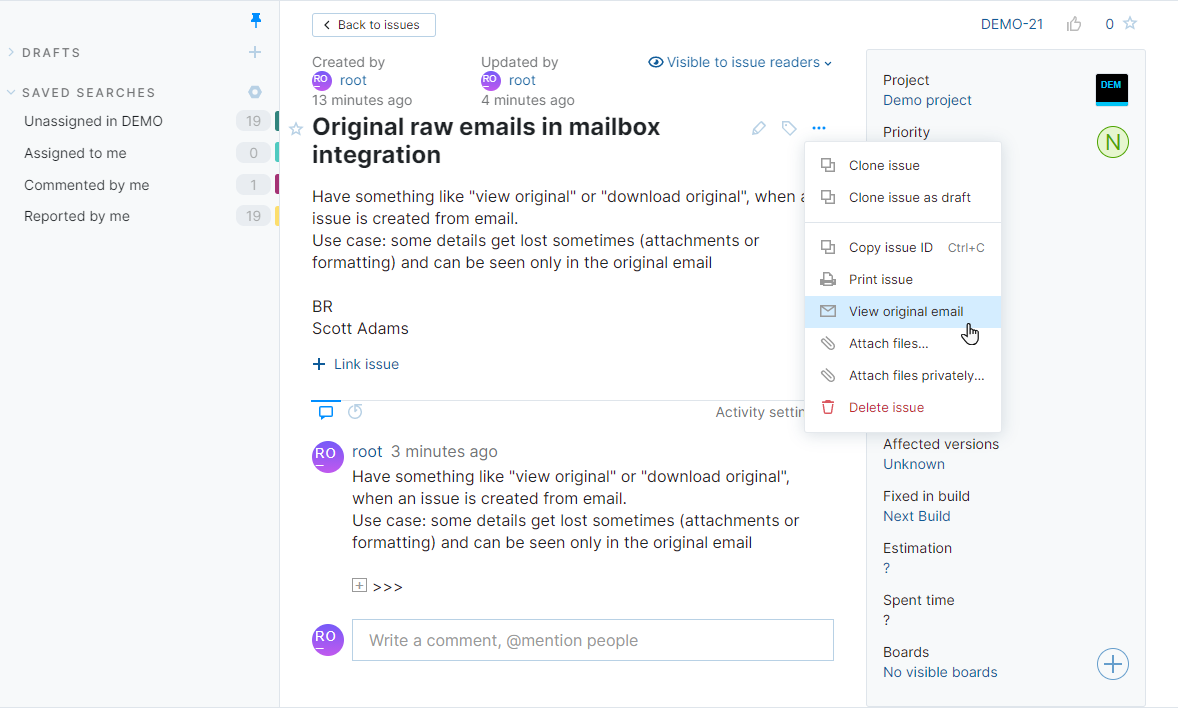 Option to view original email for an issue in YouTrack Lite.