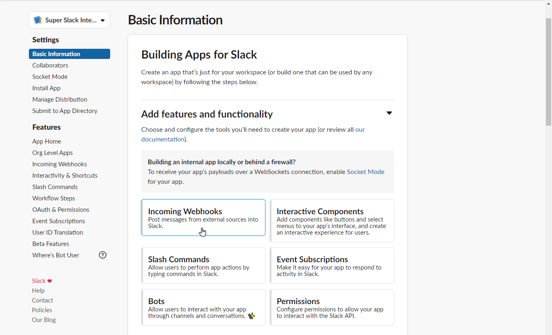 Slack integration basic info.