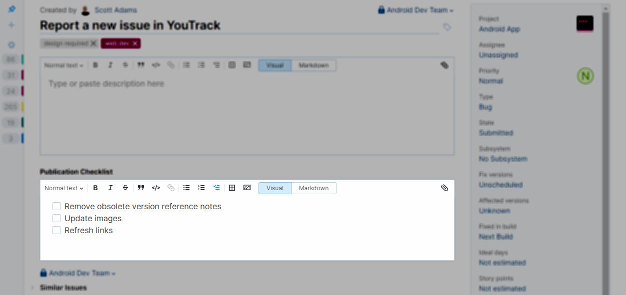 Field for storing supplemental text in YouTrack Lite.