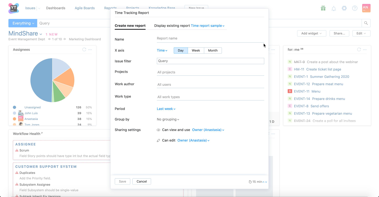 Create new report in a widget