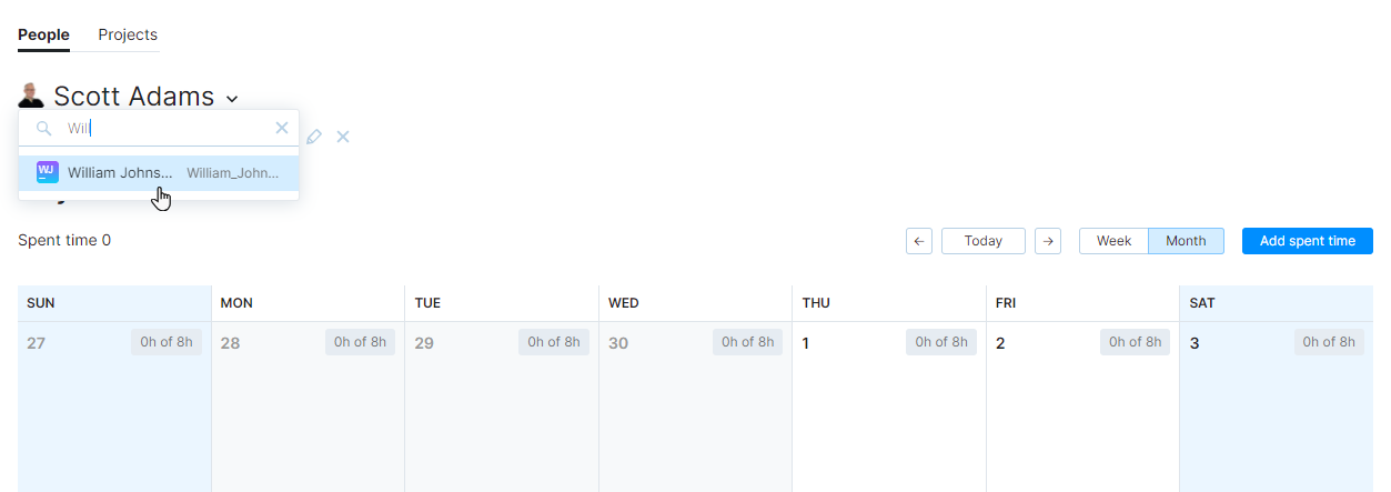 A drop-down menu that lets you view timesheets for other users.