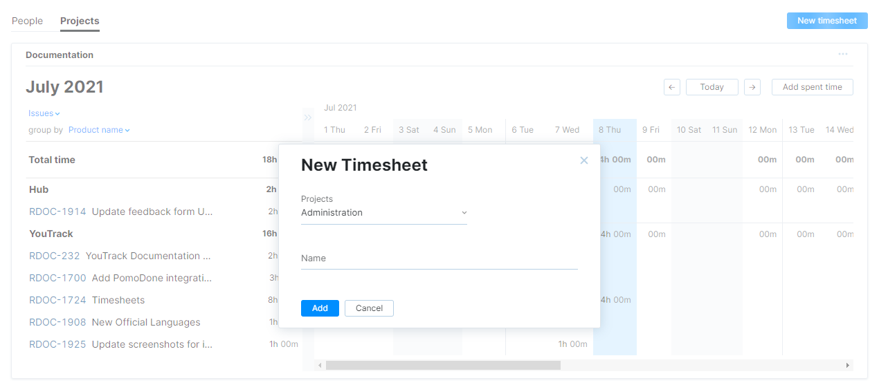 A dialog that lets you add a timesheet for selected projects.