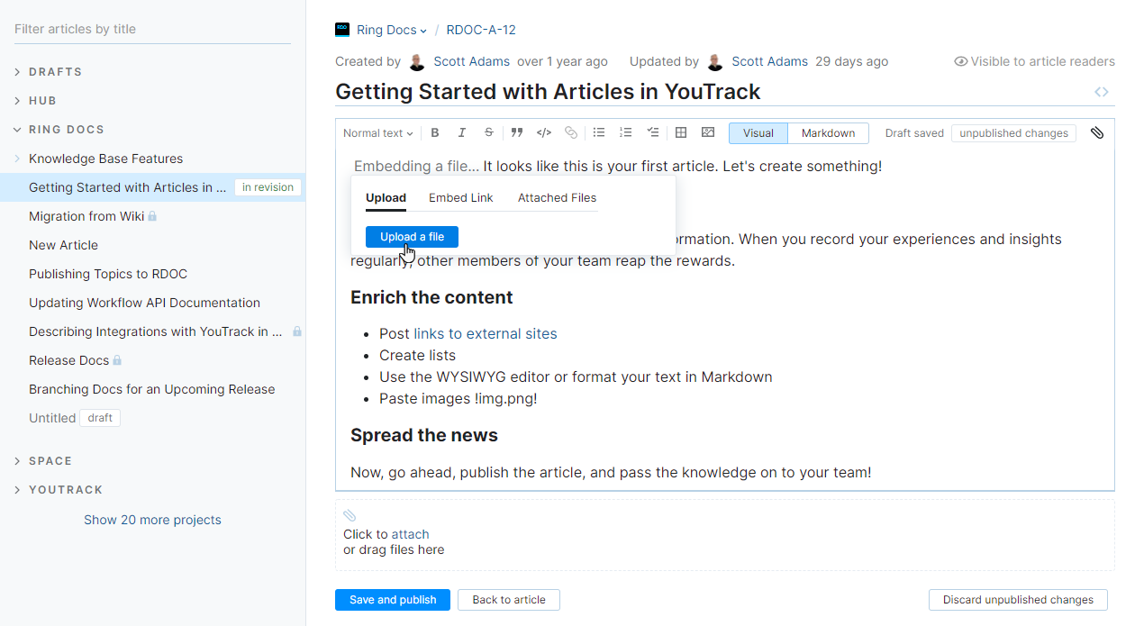 Upload files to an article.