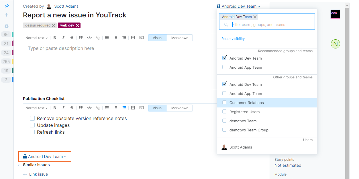 Issue visibility settings for new issues in YouTrack Lite.