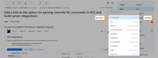 actions and values for workflow-driven fields
