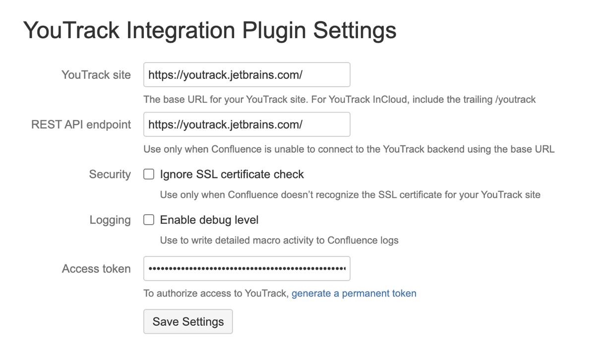 YouTrack Integration plugin settings.