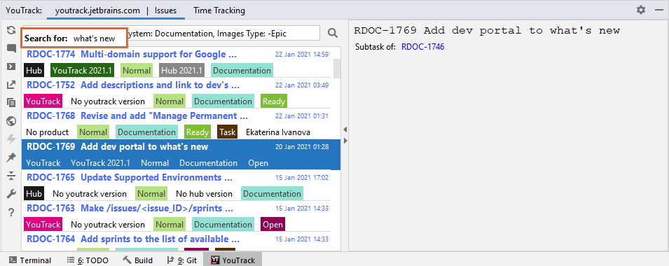Issue search function in the YouTrack Integration tool window.