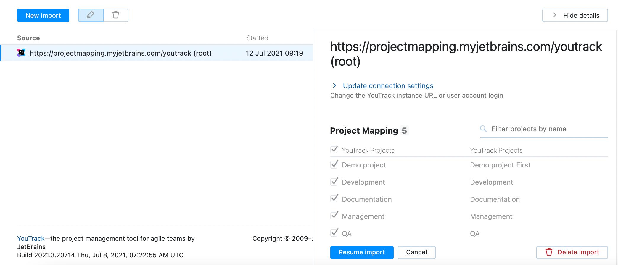Edit import settings.