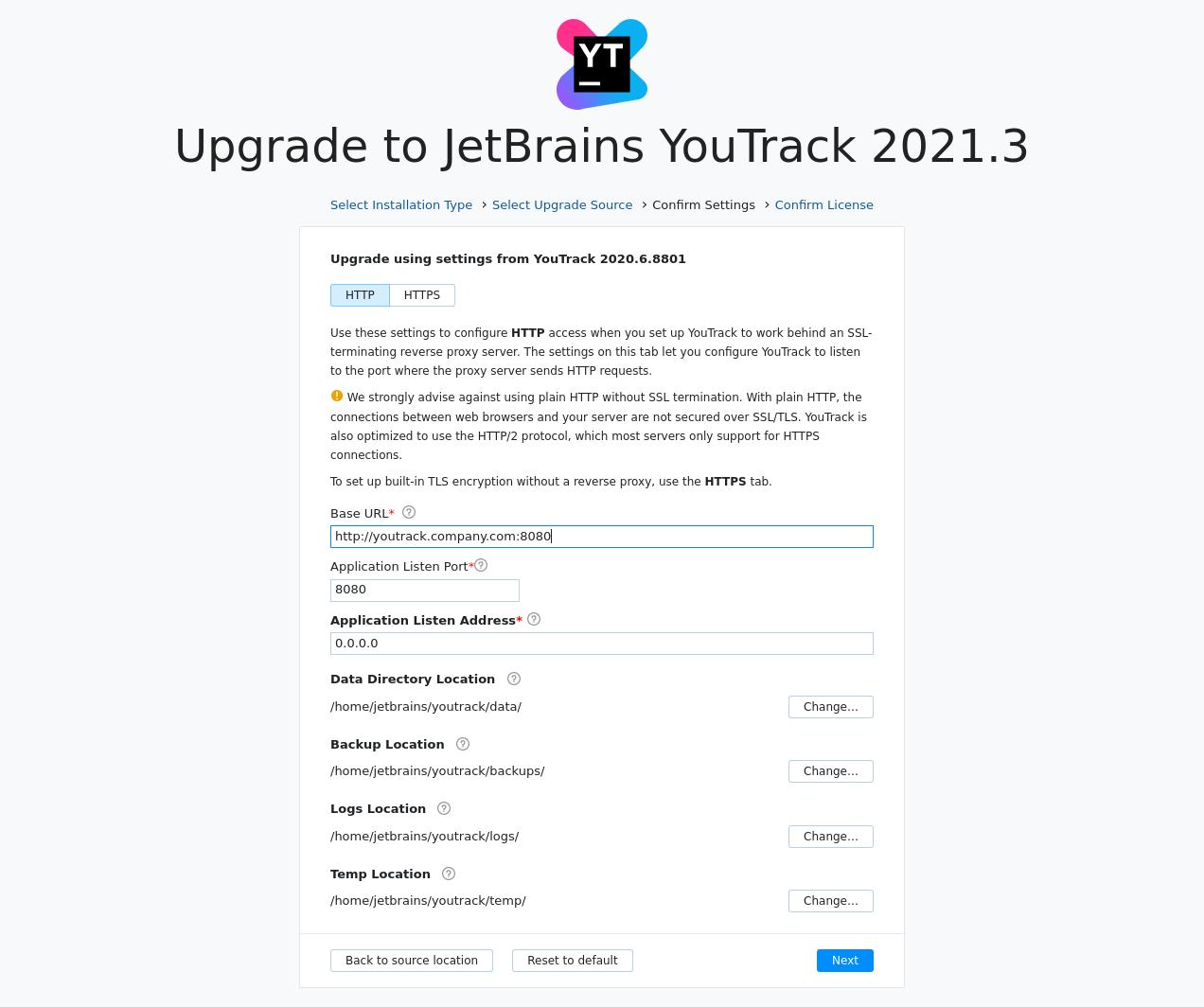 Youtrack zip upgrade settings