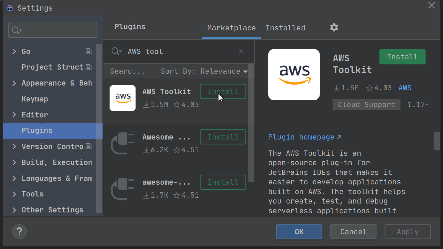 AWS Toolkit plugin