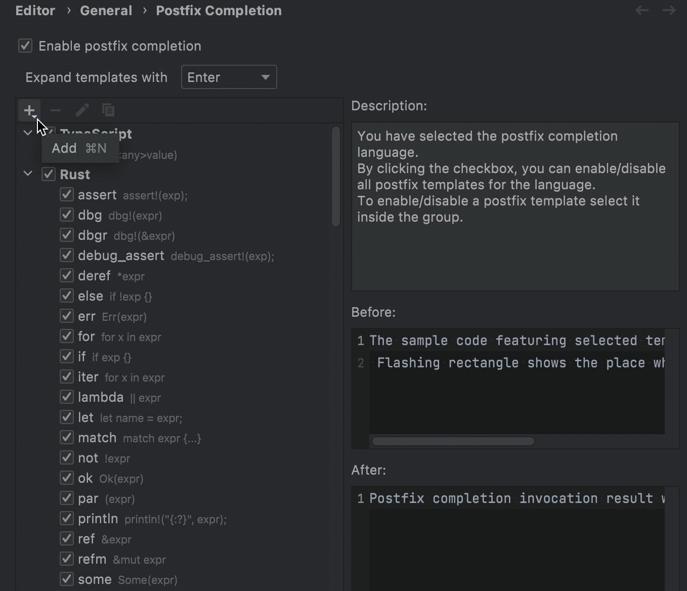 Creating a custom postfix completion template